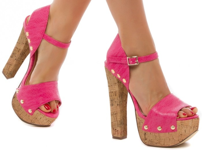 Ava Block-Heeled Sandals Pink