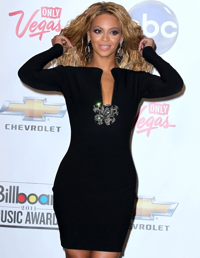Beyonce wearing a black Lanvin dress at the 2011 Billboard Music Awards held at the MGM Grand Garden Arena in Las Vegas on May 22, 2011