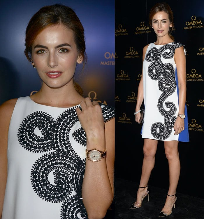 Camilla Belle with loosely tied hair at the Omega store opening in Miami