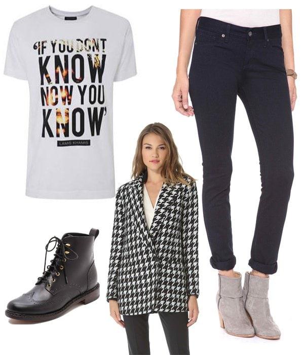 Lamis Khan If You Don't Know T-Shirt / Modern Saints Pencil Leg Jeans / Theory Danvey Coat / Rag & Bone Cozen Lace Up Booties