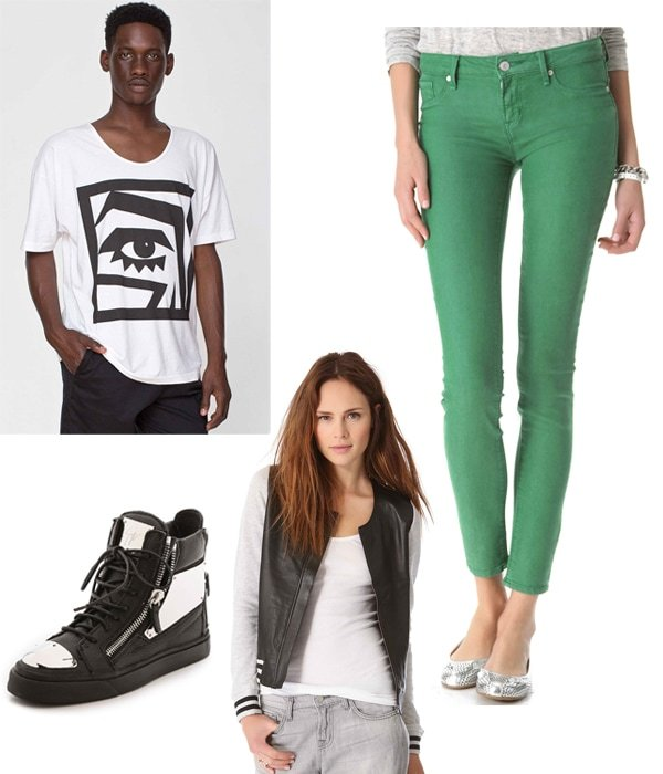 KESH x American Apparel Eye Le New Big Tee / Marc by Marc Jacobs Standard Supply Stick Jeans / Giuseppe Zanotti London Plated Zip Sneakers / Townsen Leather Jacket