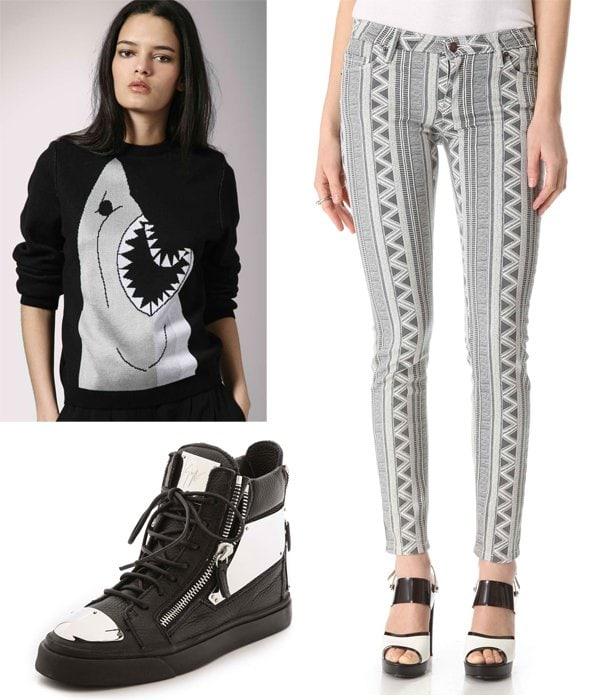 Asos Minimarket Shark Sweater / Sass & Bide To There & Back Jeans / Giuseppe Zanotti London Plated Zip Sneakers