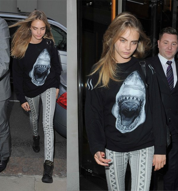 Cara Delevingne arrives atCirque Le Soir in London on July 20, 2013