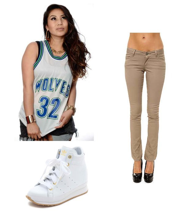 New Jack City Timberwolves Laettner Jersey / Dickies Girl The 5pkt Skinny Stretch Twill Pant in Khaki / Adidas x Opening Ceremony Honey Wedge Sneakers
