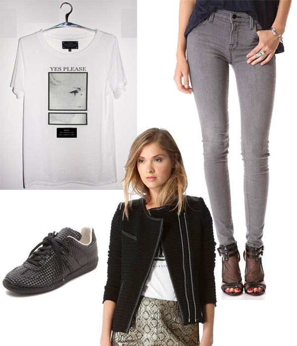 Tourne De Transmission Yes Please T-Shirt / J Brand 620 Photo Ready Super Skinny Jeans / Maison Martin Margiela Cube Detail Sneakers / IRO Maiden Ribbed Jacket