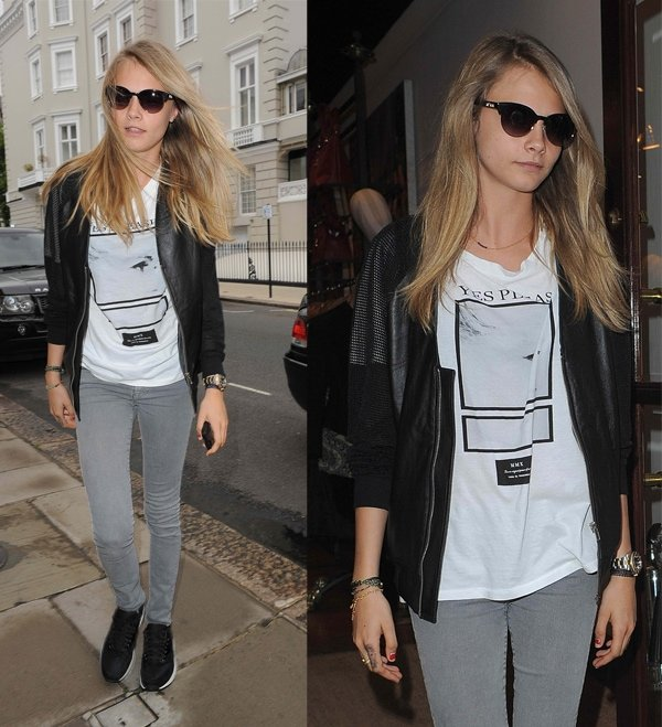 Cara Delevingne celebrates her 21st a few days late, by having a big shopping spree in Vivienne Westwood. The model spent just over an hour in the store and was driven home with her large bags full of clothing in London on August 14, 2013