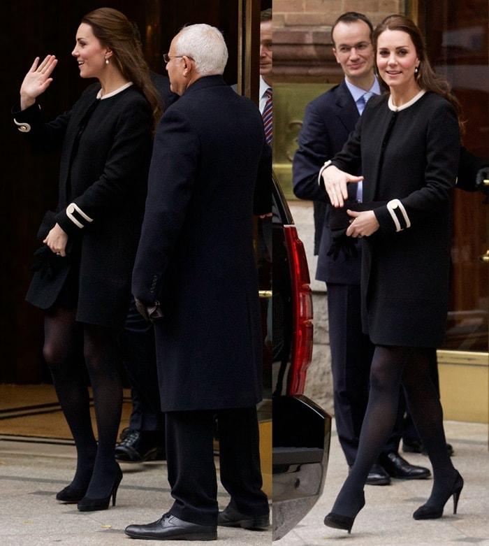 """Catherine, Duchess of Cambridge (aka Kate Middleton) ina heavy """"Washington"""" wool crepe coat from Goat Fashion"""