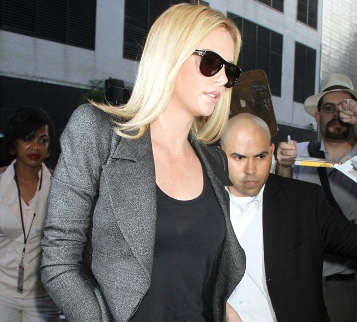 Charlize Theron heads to the Colbert Report to talk about her new movie 'Snow White and the Huntsman' in New York City on May 29, 2012