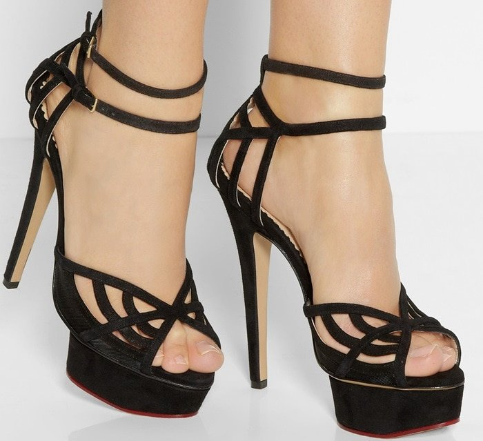 Charlotte Olympia Octavia suede and mesh platform sandals model