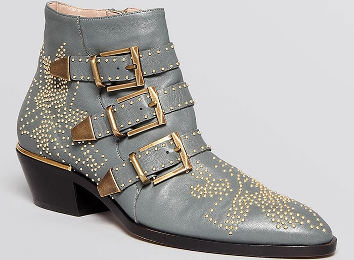 Chloe Susanna Studded Western Booties in Gray