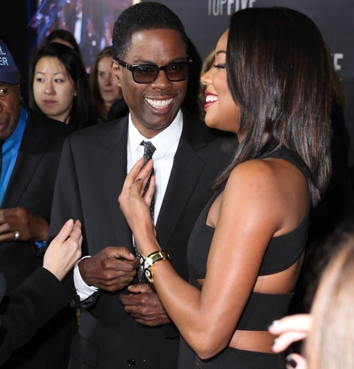 Gabrielle Union and Chris Rock at the premiere of Top Five at the Ziegfeld Theatre in New York City on December 3, 2014