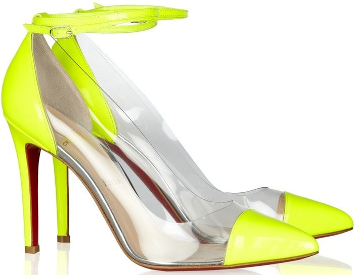 Christian Louboutin Yellow Un Bout 100 Patent Leather and Pvc Pumps