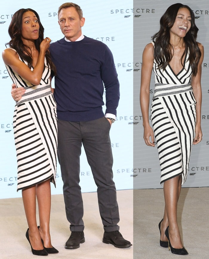 Daniel Craig and Naomie Harris at the Bond 24 press conference and photo call