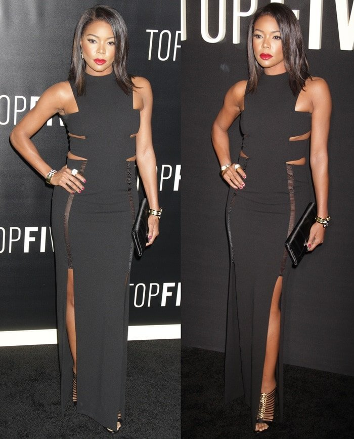 Gabrielle Union in a double-split Weaver maxi dress by Solace London featuring cutout slits