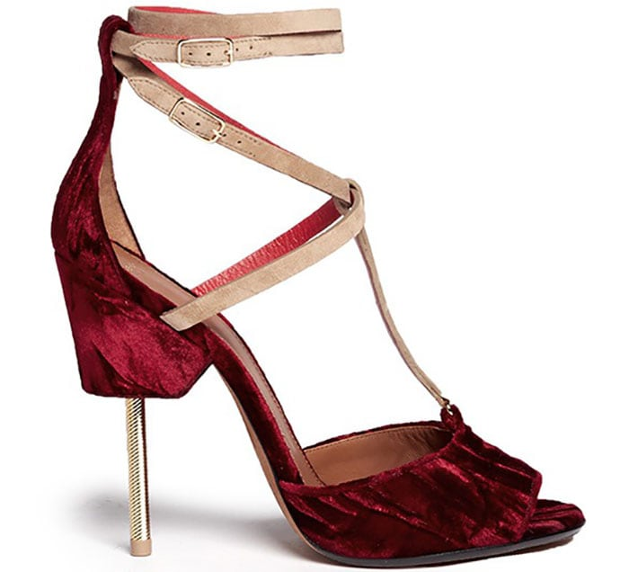 Givenchy Marzia Metal-Stiletto Velour Sandals