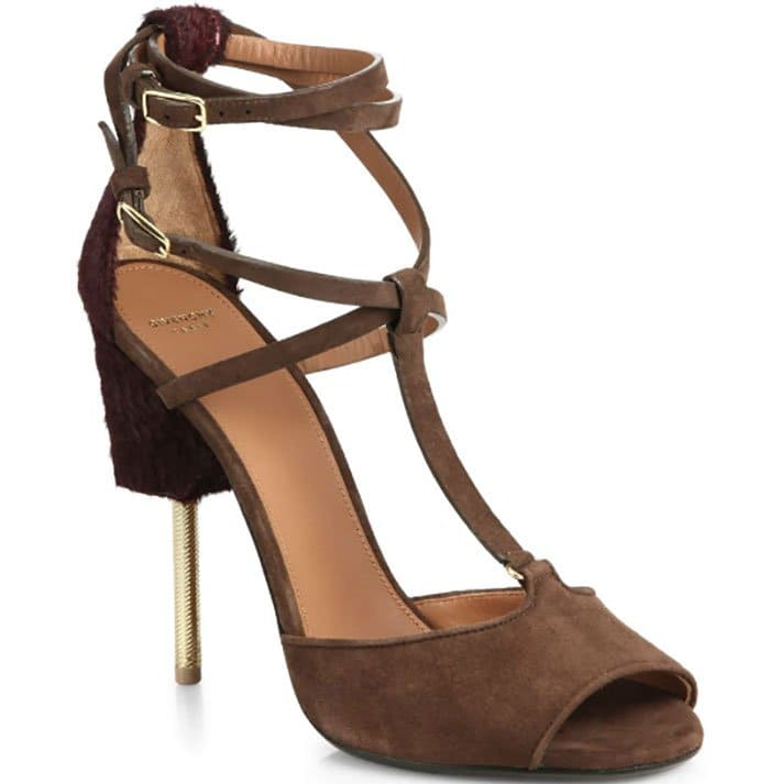 Givenchy Marzia Suede & Shearling T-Strap Sandals