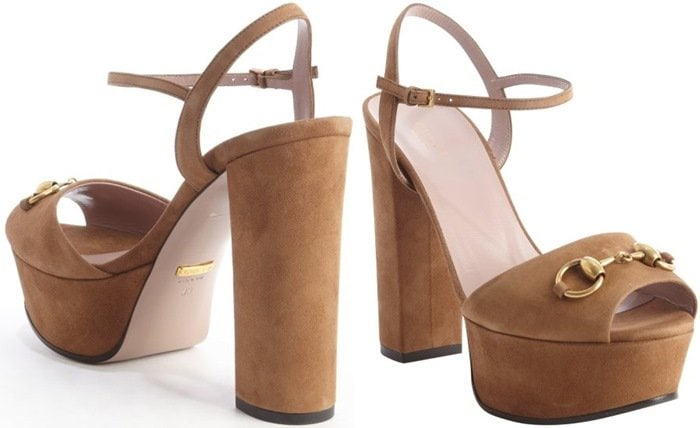 Gucci Chocolate Suede Horsebit Platform Peep-Toe Sandals