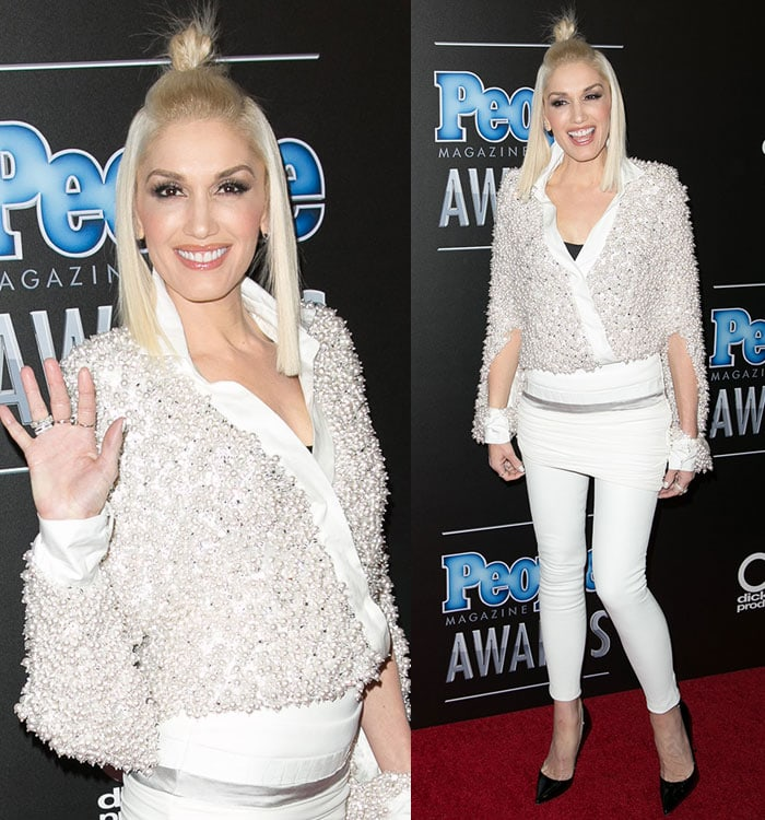 Gwen Stefani'stop-knot hairstyle at the 2014 People Magazine Awards