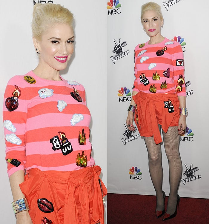 Gwen Stefani at NBC's The Voice season 7 red carpet event held at HYDE Sunset Kitchen + Cocktails in West Hollywood on December 8, 2014
