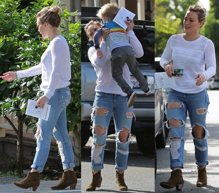 Hilary Duff seen out for breakfast with family