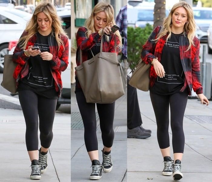 Hilary Duff leaves a nail salon