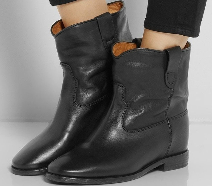 Isabel Marant Etoile Cluster leather concealed wedge ankle boots