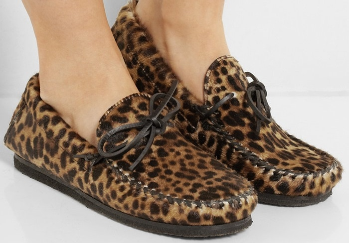 Isabel Marant Étoile Fell Leopard Print Calf-Hair Moccasins