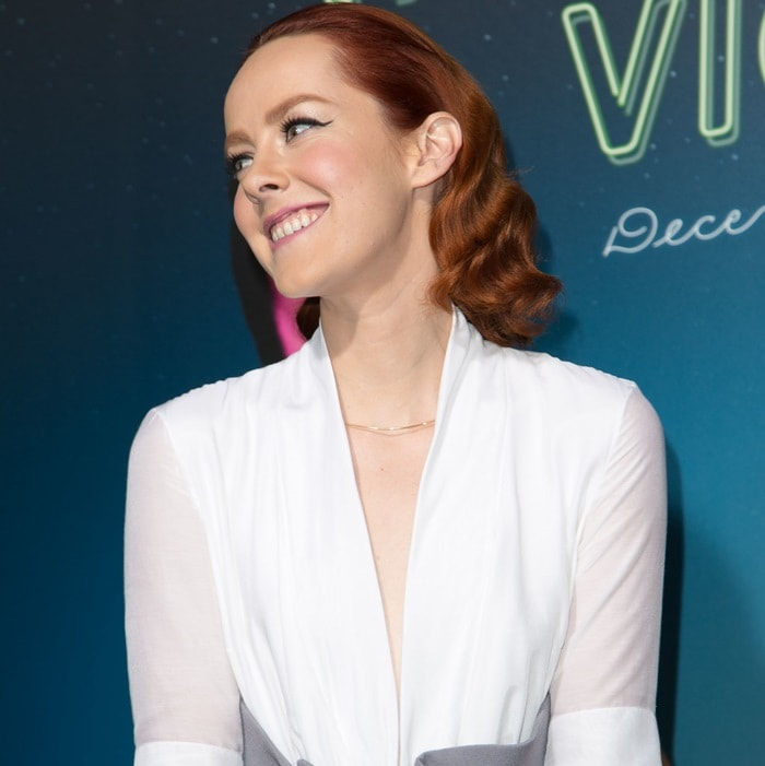 Jena Malone donned a plunging white blouse