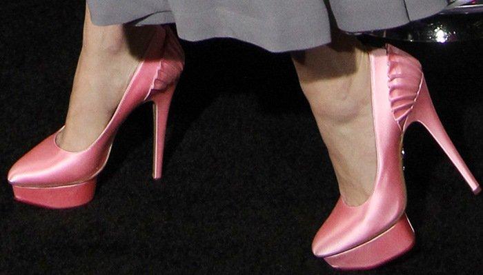 "Jena Malone in pink ""Paloma"" platform pumps by Charlotte Olympia"