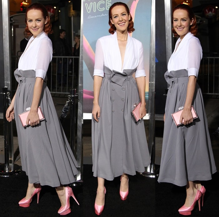 Jena Malone donned a plunging white blouse paired with a gray skirt from Ulyana Sergeenko Demi Couture