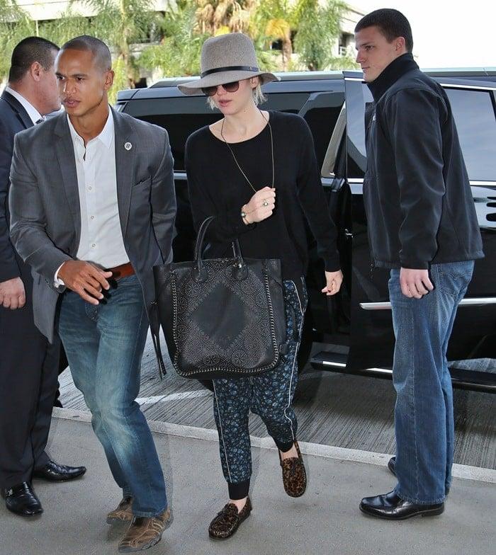 Jennifer Lawrence rocks leopard-print calf-hair Isabel Marant moccasins