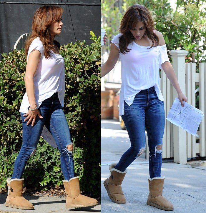 Jennifer Lopez filmed scenes for a new movie in classic blue jeans paired with a white top that exposed her bra