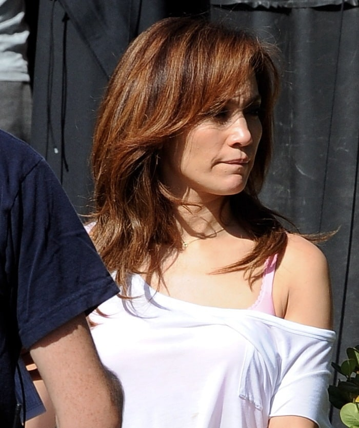 Jennifer Lopez filming reshoots for her upcoming movie, The Boy Next Door, in Los Angeles on June 23, 2014