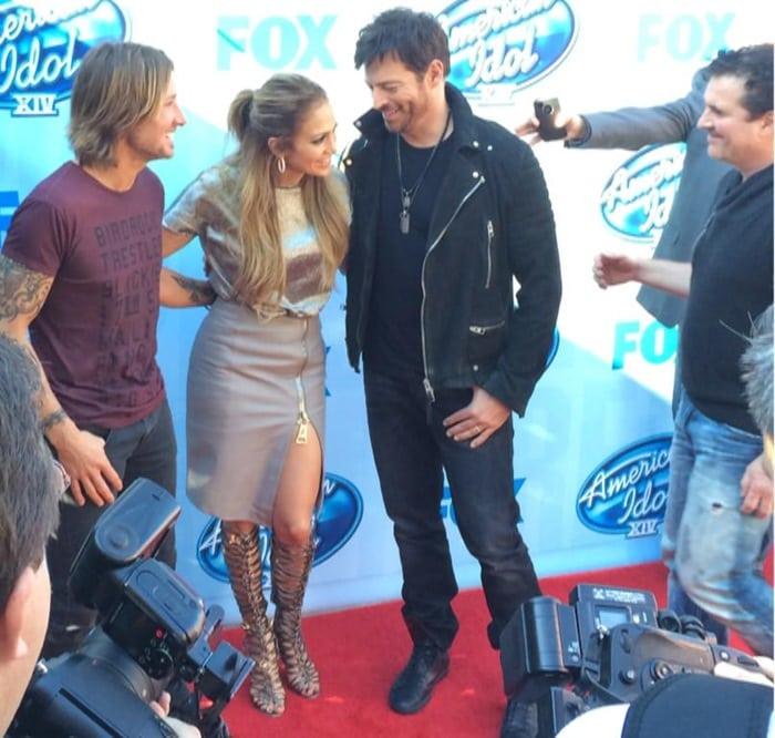 "6e732e8d065 Jennifer Lopez Flaunts Long Legs in Sophia Webster ""Clementine"" Strappy Gladiator  Sandal Boots"