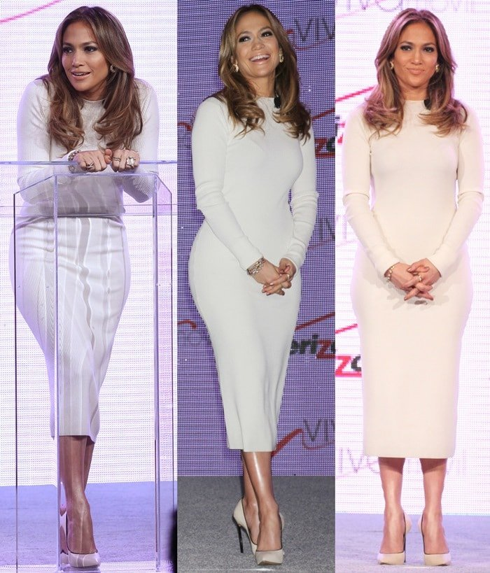"""Jennifer Lopez wore a pair of cream leather """"Blade"""" pumps with a long-sleeve white dress from the Louise Goldin Fall 2013 collection, diamond earrings by Marina B, and jewelry by H. Stern."""
