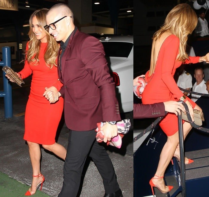 Jennifer Lopez exiting her hotel to celebrate her 43rd birthday with her 25-year-old boyfriend, Casper Smart, in New York City on July 24, 2012