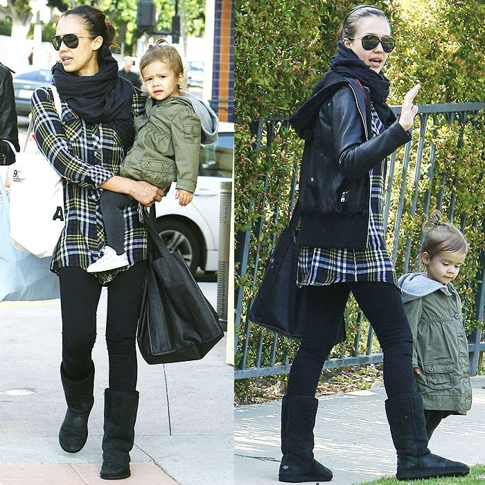 Jessica Alba's plaid shirt and leather hoodie is the chicest grunge-inspired outfit we've seen