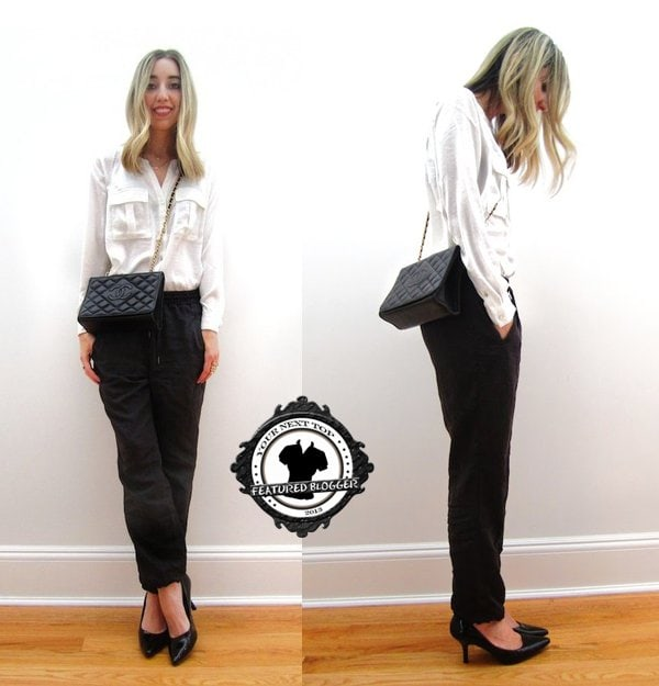 Jilly wears high-waisted pants with drawstring details