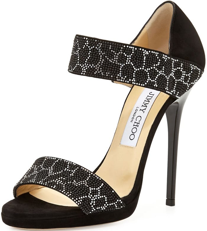 Jimmy Choo Lee Studded Double-Band Sandals
