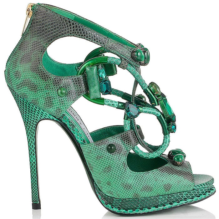 Jimmy Choo Madison Emerald Karung Sandals with Semi-Precious Stones