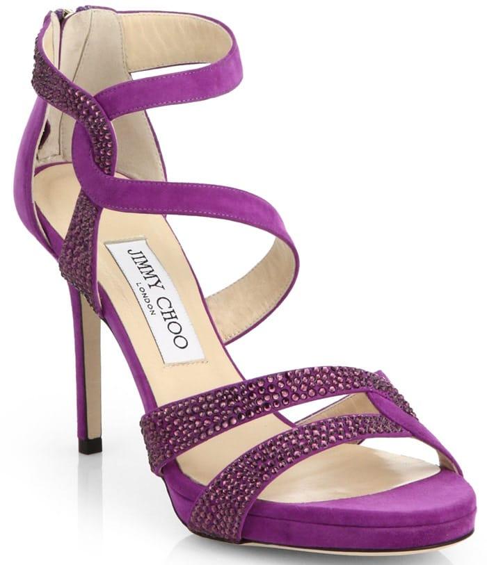 """Jimmy Choo """"Tomar"""" Crystal-Coated Suede Sandals in Purple"""