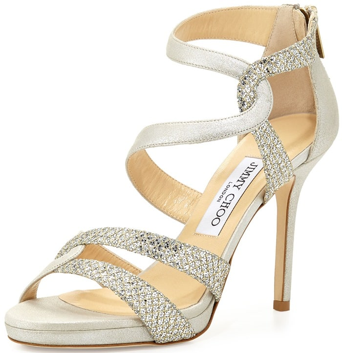 """Jimmy Choo """"Tomar"""" Strappy Glitter Sandals in Champagne"""