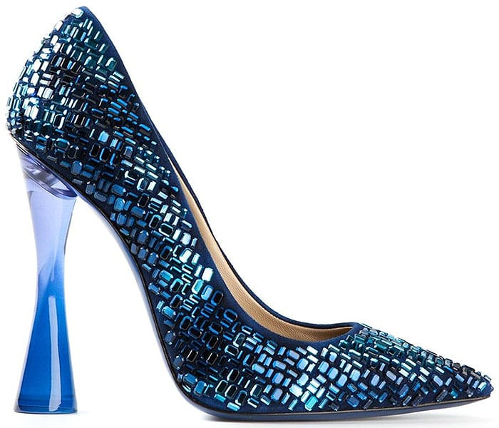 Julia Haart Blue Crystal Embellished Pumps