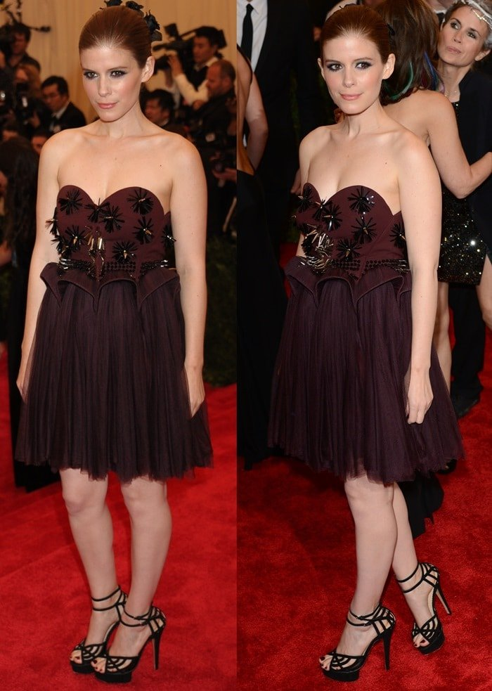 Kate Mara in a strapless dress at the 2013 Met Gala held at the Metropolitan Museum of Art in New York City on May 6, 2013