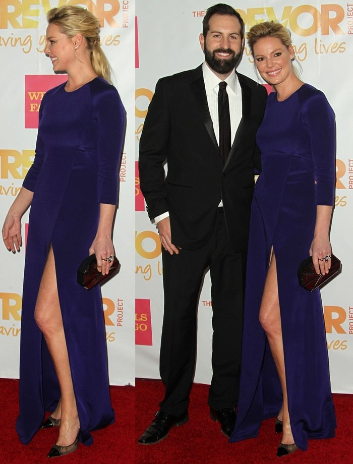 Katherine Heigl, accompanied by husband Josh Kelley, on the red carpet at 2014 TrevorLIVE LA, the annual event for The Trevor Project, held at the Hollywood Palladium in Los Angeles on December 7, 2014