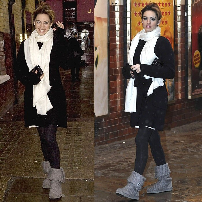"If color matching isn't your game, texture mixing with a knit scarf, a dress, a coat, and UGG ""Cardy"" boots like Kelly Brook might be more up your alley"