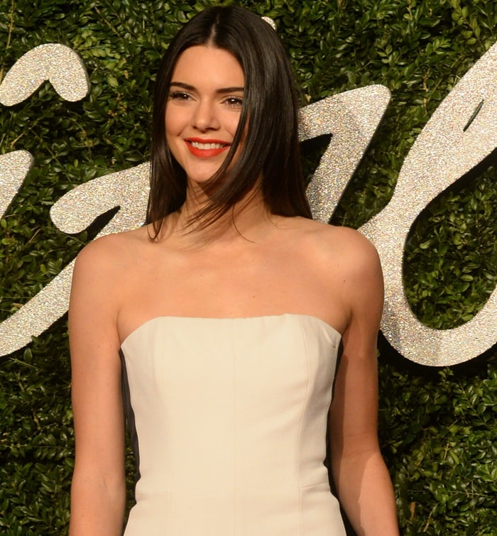 Kendall Jenner on the red carpet at the 2014 British Fashion Awards held at London Coliseum in London, England, on December 1, 2014