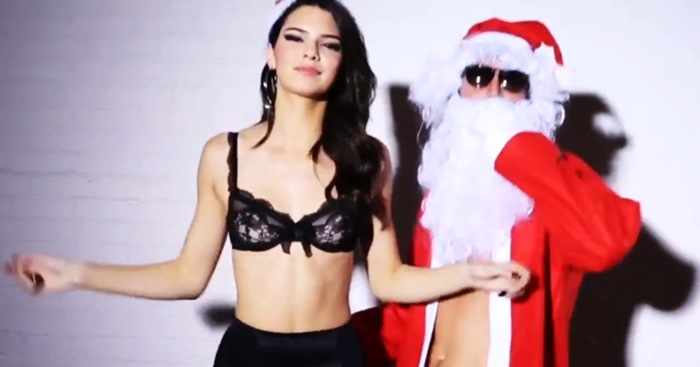 Kendall Jenner wears a lace bra and high-waist panties