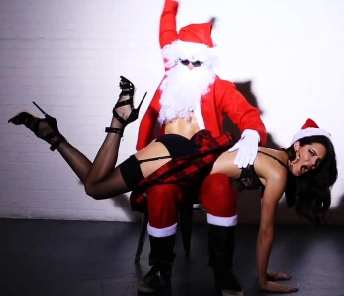 Kendall Jenner gets spanked by Santa