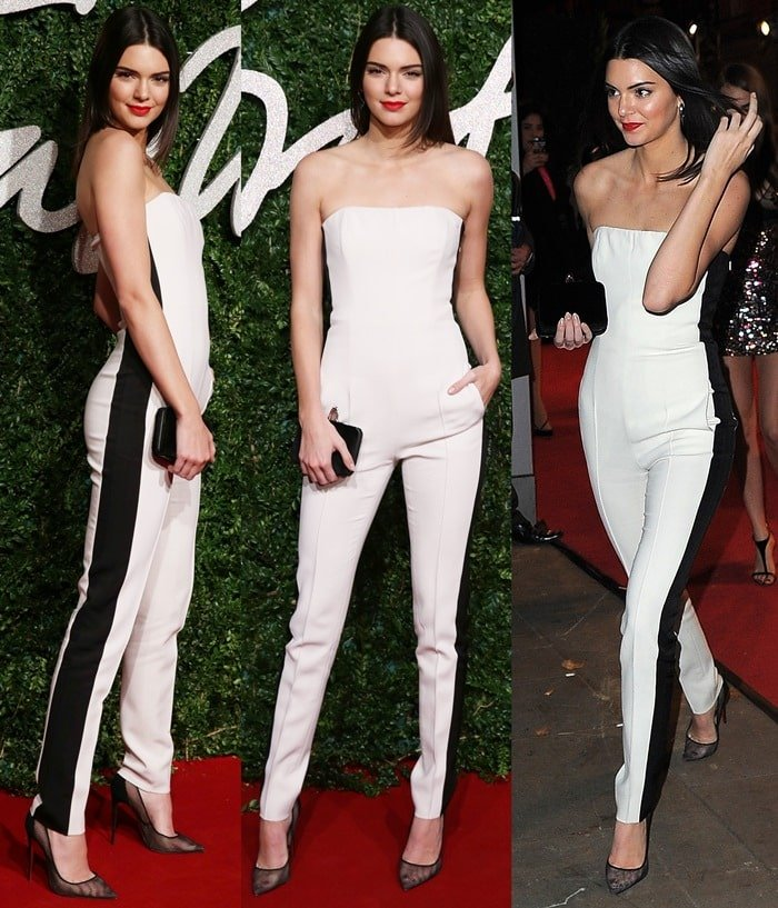 Kendall Jenner Rocks Sexy Strapless Black And White Jumpsuit